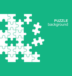White details puzzle on green background vector