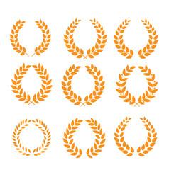 Wreath reward orange set vector
