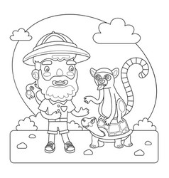 zookeeper coloring page vector image