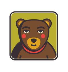 bear face flat icon animal icons series bear vector image