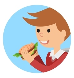 Boy eating sandwich on theme vector image