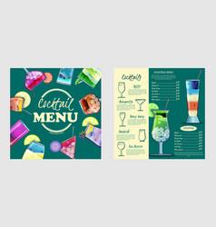 cocktail menu design templatecocktail list cover vector image
