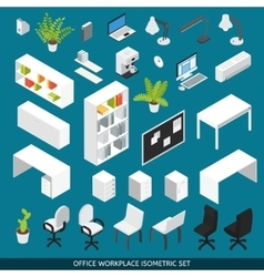 Isometric Office workplace Icon Set vector image