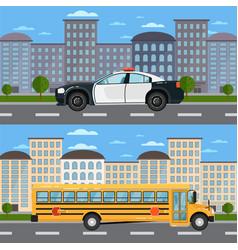 school bus and police car in urban landscape vector image vector image