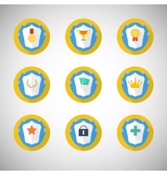 Trophy and awards icons in flat design style vector image vector image