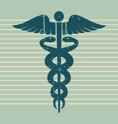 vintage medical caduceus vector image vector image