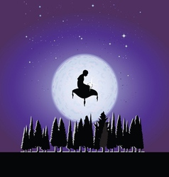 Fakir in the moonlight vector image vector image