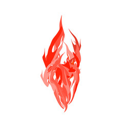 Fire isolated red flames on white background vector