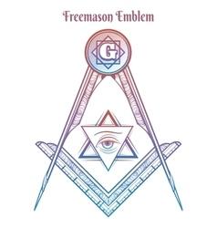 Freemason square and compass vector image