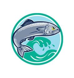 Sardine fish jumping circle retro vector