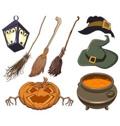 Set halloween symbol vector