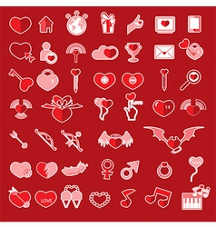 Set valentines day objects Love icon vector image vector image