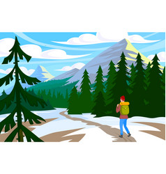 traveler walk in mountain vector image