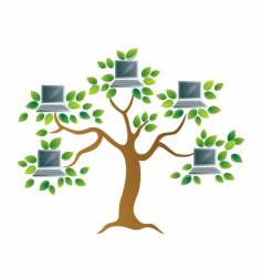 tree with computers vector image vector image