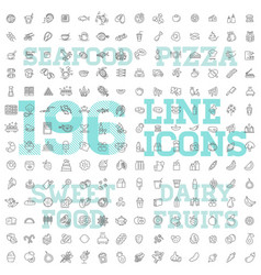 196 food and drink thin icon set vector image vector image