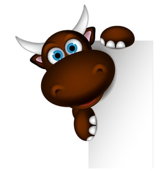cute buffalo cartoon posing with blank sign vector image vector image