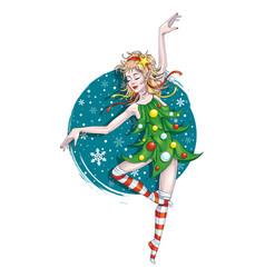 dancing christmas elf vector image vector image