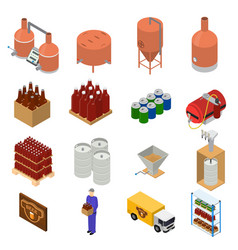 Equipment and beer production set isometric view vector
