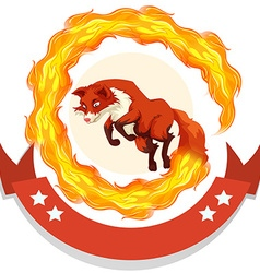 Fox jumping through fire hoop vector image