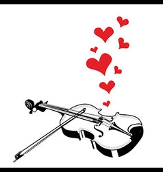 Heart love music violin playing a song for valenti vector image