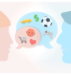 Man and woman speech bubbles vector image vector image
