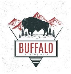 old retro logo with bull buffalo vector image vector image
