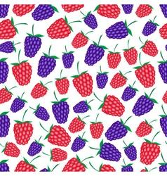 raspberries and blackberries fruit summer seamless vector image