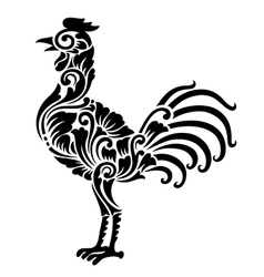 Rooster floral ornament decoration vector image