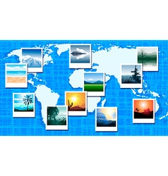 World map with polaroid pictures vector