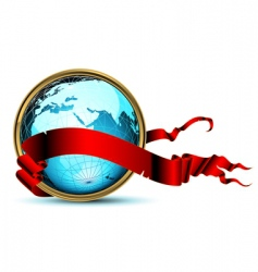 world with ribbon vector image