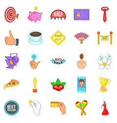 Advertising icons set cartoon style vector