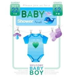 Baby shower boy invitation design with body suit vector