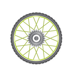 black metallic bicycle wheel with green spokes vector image