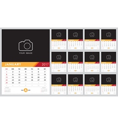 Calendar 2017 template design Week starts from Sun vector image vector image