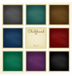 Colorful chalkboard with frame set 9 in 1 vector image