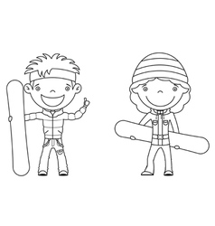 cute cheerful kids with boards for snowboard vector image vector image