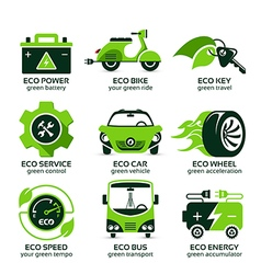 flat icon set for green eco urban traffic vector image vector image