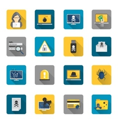 Hacker icons flat buttons vector image vector image