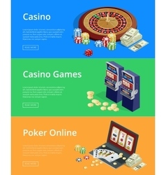 Internet casino games modern flat design concepts vector