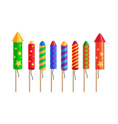 kinds of fireworks pyrotechnic set rockets vector image
