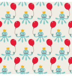 Seamless birthday pattern with cute octopus vector image vector image