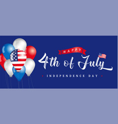4th july usa vintage lettering greeting card vector image
