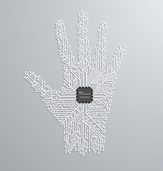 Abstract hand in an electronic circuit chip Design vector image