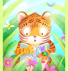 African batiger reading book in jungle vector