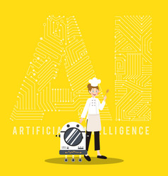 Ai smart robot and chef on yellow background vector