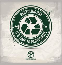 Alternative recycling day stamp vector