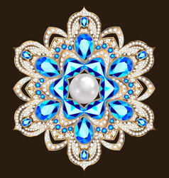 an a shiny pendant brooch with precious stones vector image