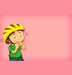 background template design with boy in yellow vector image