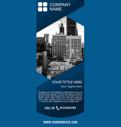 Banner stand design template with dark blue vector