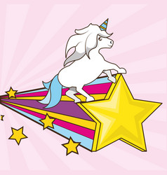beautiful cute unicorn running over colorful vector image